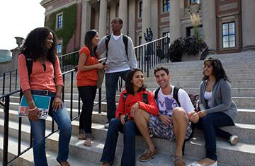 students on the steps of dinand